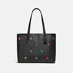 CENTRAL TOTE IN SIGNATURE CANVAS WITH STAR APPLIQUE AND SNAKESKIN DETAIL - CHARCOAL/MULTI/PEWTER - COACH 69453