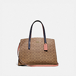 CHARLIE CARRYALL IN COLORBLOCK SIGNATURE CANVAS - TAN/INK LIGHT PEACH/BRASS - COACH 69481