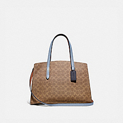 CHARLIE CARRYALL IN COLORBLOCK SIGNATURE CANVAS - V5/TAN MIST INK - COACH 69481
