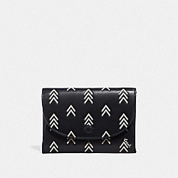 SNAP CARD CASE WITH LINE ARROW PRINT - BLACK/CHALK - COACH 69487