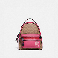 CAMPUS BACKPACK 23 IN SIGNATURE CANVAS WITH COACH PATCH - TAN/BRIGHT CHERRY MULTI/GUNMETAL - COACH 69522