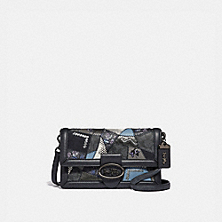 RILEY WITH SIGNATURE PATCHWORK - CHARCOAL SLATE MULTI/PEWTER - COACH 69554