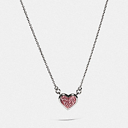 HEART NECKLACE - SILVER/PINK - COACH 69583