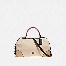 LANE SATCHEL IN COLORBLOCK WITH SNAKESKIN DETAIL - IVORY MULTI/PEWTER - COACH 69622