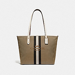 CITY ZIP TOTE WITH HORSE AND CARRIAGE - GD/KHAKI CHALK - COACH 69645