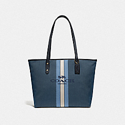 CITY ZIP TOTE WITH HORSE AND CARRIAGE - GD/BLUE MIDNIGHT NAVY - COACH 69645