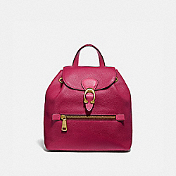EVIE BACKPACK 22 IN COLORBLOCK - BRIGHT CHERRY MULTI/BRASS - COACH 69663