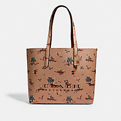 HIGHLINE TOTE WITH PALM PRINT - GD/BEECHWOOD - COACH 69667