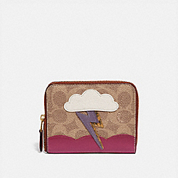 SMALL ZIP AROUND WALLET IN SIGNATURE CANVAS WITH LIGHTNING CLOUD APPLIQUE AND SNAKESKIN DETAIL - B4/TAN RUST - COACH 69790