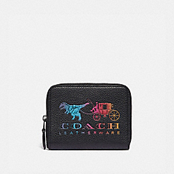 SMALL ZIP AROUND WALLET WITH REXY AND CARRIAGE - GM/BLACK MULTI - COACH 69813