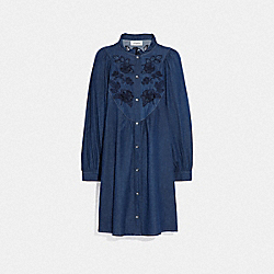 EMBROIDERED DENIM DRESS - SHADY BLUE - COACH 69894