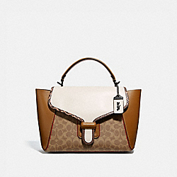 COURIER CARRYALL IN COLORBLOCK SIGNATURE CANVAS WITH SNAKESKIN DETAIL - V5/TAN CHALK MULTI - COACH 698