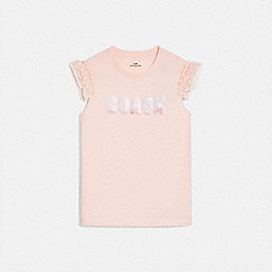 COACH PRINT T-SHIRT WITH EMBROIDERED CAP SLEEVES - PINK - COACH 69933
