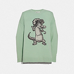 DISNEY X COACH CROCODILE OVERSIZED INTARSIA SWEATER - MINT - COACH 69960