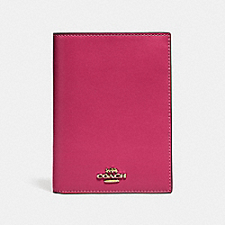 PASSPORT CASE - BRIGHT CHERRY/GOLD - COACH 69971