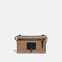 RIVINGTON CONVERTIBLE POUCH IN SIGNATURE CANVAS - KHAKI - COACH 69984