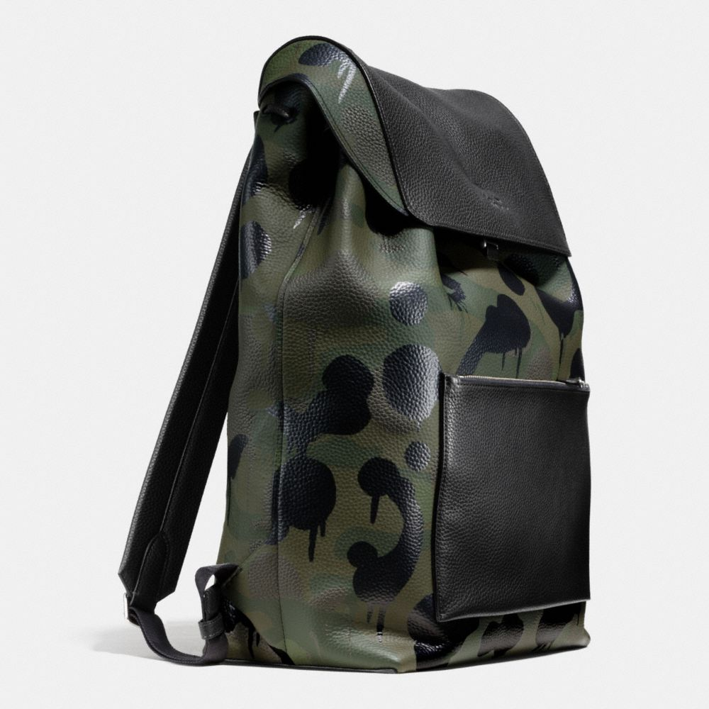 Large Manhattan Backpack in Military Wild Beast Print Leather - Alternate View A2