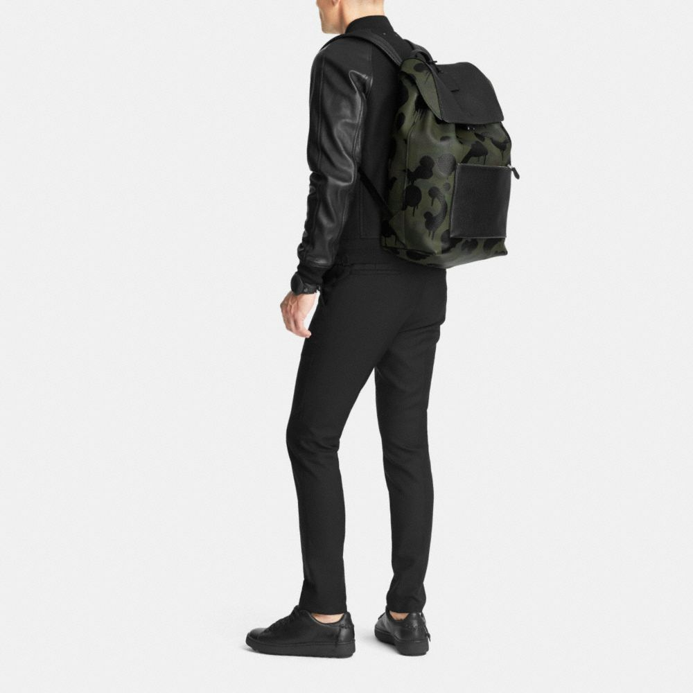 Large Manhattan Backpack in Military Wild Beast Print Leather - Alternate View M
