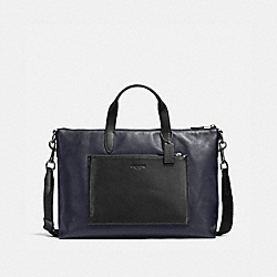 MANHATTAN BRIEF IN SPORT CALF LEATHER - QB/MIDNIGHT/BLACK - COACH 72095