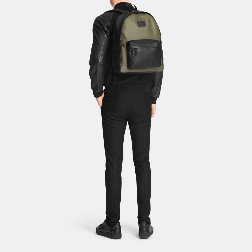 Campus Backpack in Colorblock Refined Pebble Leather - Alternate View M