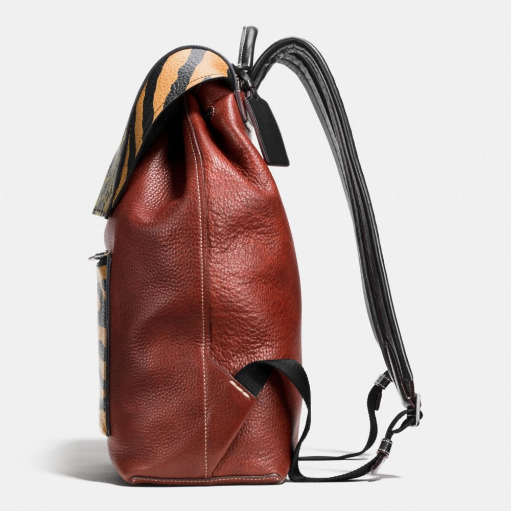 Small Backpack in Printed Pebble Leather - Alternate View A1