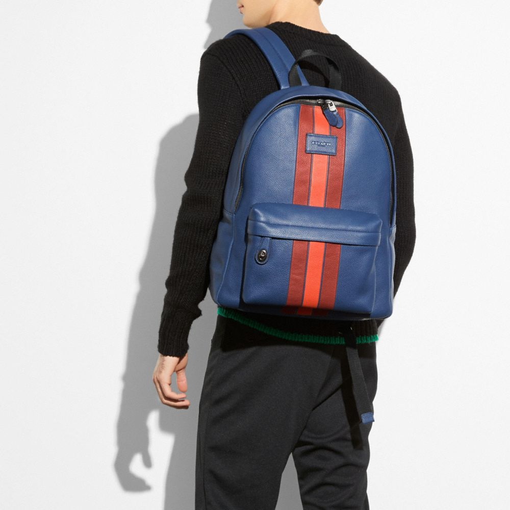 CAMPUS BACKPACK IN PEBBLE LEATHER WITH VARSITY STRIPE - Alternate View