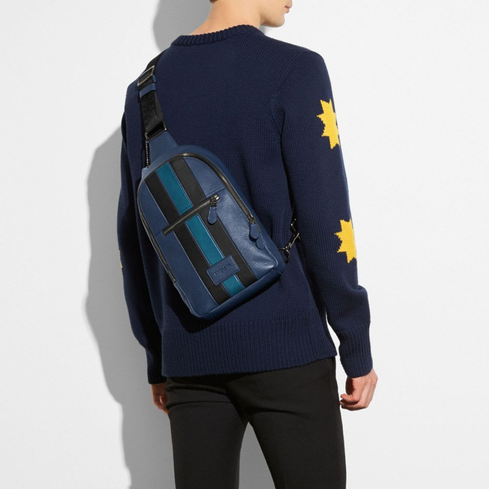 Campus Pack in Polished Pebble Leather With Varsity Stripe - Alternate View A2