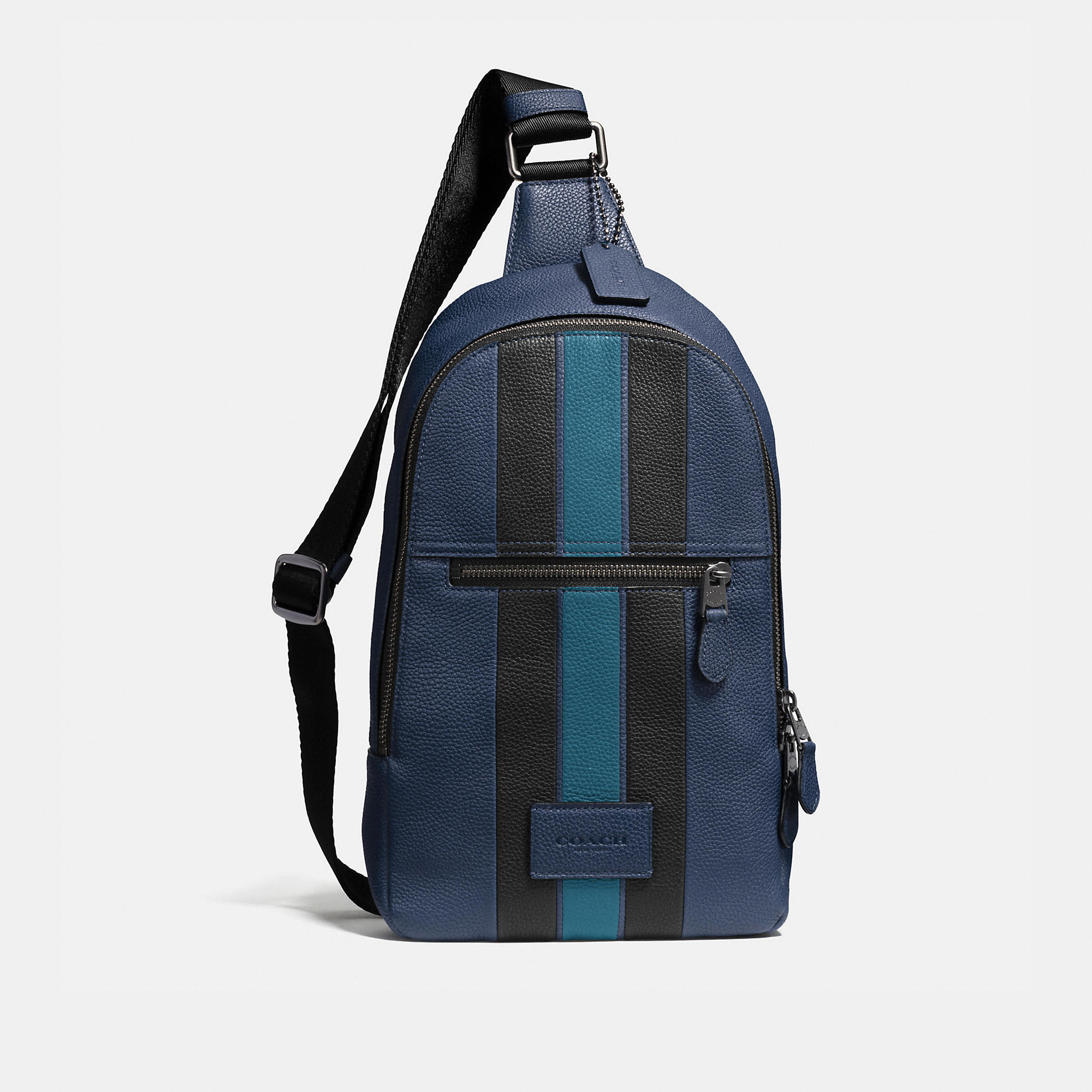 Coach Campus Pack In Polished Pebble Leather With Varsity Stripe