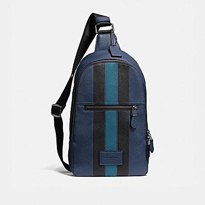 CAMPUS 學院風條紋鵝卵石顆粒皮革後背包
