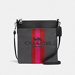KITT MESSENGER CROSSBODY WITH HORSE AND CARRIAGE - SV/CHARCOAL BLACK - COACH 72412