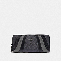 SLIM ACCORDION ZIP WALLET IN SIGNATURE CANVAS WITH WAVE PATCHWORK - V5/CHARCOAL MULTI - COACH 72416