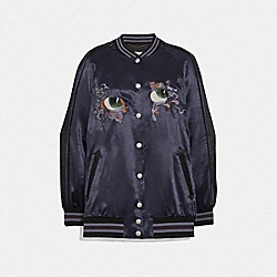OVERSIZED SOUVENIR VARSITY JACKET - DARK NAVY - COACH 72540