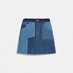 DENIM PATCHWORK SKIRT - BLUE - COACH 72553
