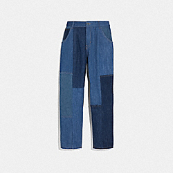 DENIM PATCHWORK PLEATED TROUSERS - BLUE - COACH 72566