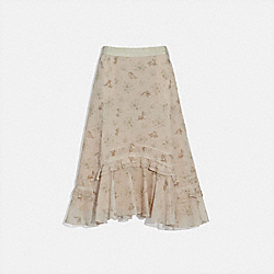 DISNEY X COACH LONG TIERED SKIRT - CREAM - COACH 72675