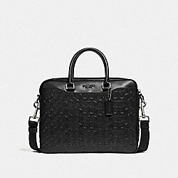 BECKETT COMPACT BRIEF IN SIGNATURE LEATHER - NI/BLACK - COACH 72973