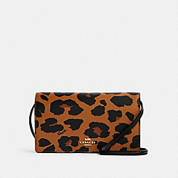 ANNA FOLDOVER CROSSBODY CLUTCH WITH LEOPARD PRINT - IM/LIGHT SADDLE - COACH 7301