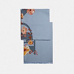 COACH FLORAL BOW PRINT OBLONG SCARF - GREY - COACH 73214