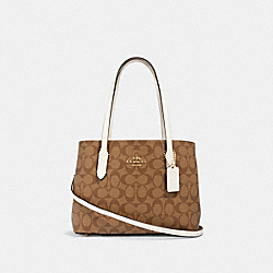 MINI AVENUE CARRYALL IN SIGNATURE CANVAS - IM/KHAKI/CHALK - COACH 73293
