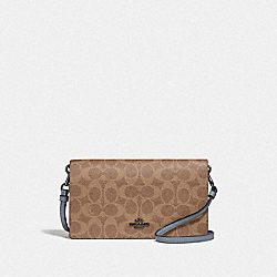 HAYDEN FOLDOVER CROSSBODY CLUTCH IN COLORBLOCK SIGNATURE CANVAS - V5/TAN MIST INK - COACH 73318