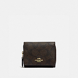 SMALL TRIFOLD WALLET IN SIGNATURE CANVAS - IM/BROWN BLACK - COACH 7331