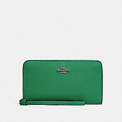 LARGE PHONE WALLET - SV/SHAMROCK - COACH 73413