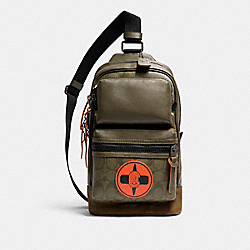 COACH X MICHAEL B. JORDAN RIDER PACK WITH SIGNATURE CANVAS DETAIL - QB/NINJA GREEN - COACH 7359