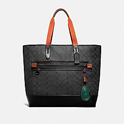ACADEMY TOTE IN SIGNATURE CANVAS WITH COACH PATCH - CHARCOAL/BLACK COPPER - COACH 73667