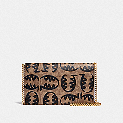 CALLIE FOLDOVER CHAIN CLUTCH IN SIGNATURE CANVAS WITH REXY BY GUANG YU - B4/TAN RUST - COACH 73825