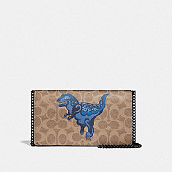 CALLIE FOLDOVER CHAIN CLUTCH IN SIGNATURE CANVAS WITH REXY BY ZHU JINGYI - TAN/DUSTY LAVENDER/PEWTER - COACH 73826