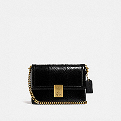 HUTTON SHOULDER BAG IN SNAKESKIN - B4/BLACK - COACH 738