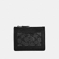 LARGE CARD CASE WITH SIGNATURE CANVAS BLOCKING - CHARCOAL - COACH 73922