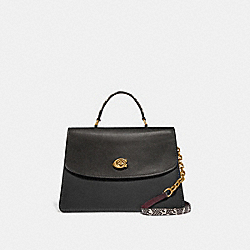 PARKER TOP HANDLE 32 IN COLORBLOCK WITH SNAKESKIN DETAIL - B4/BLACK MULTI - COACH 73969