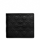 OP ART EMBOSSED LEATHER DOUBLE BILLFOLD WALLET